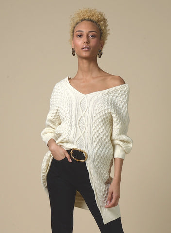 89311 Front Bow Ruffle Turtleneck Sweater