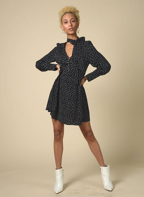 89507 Polka Dot Print Neck Tie Dress