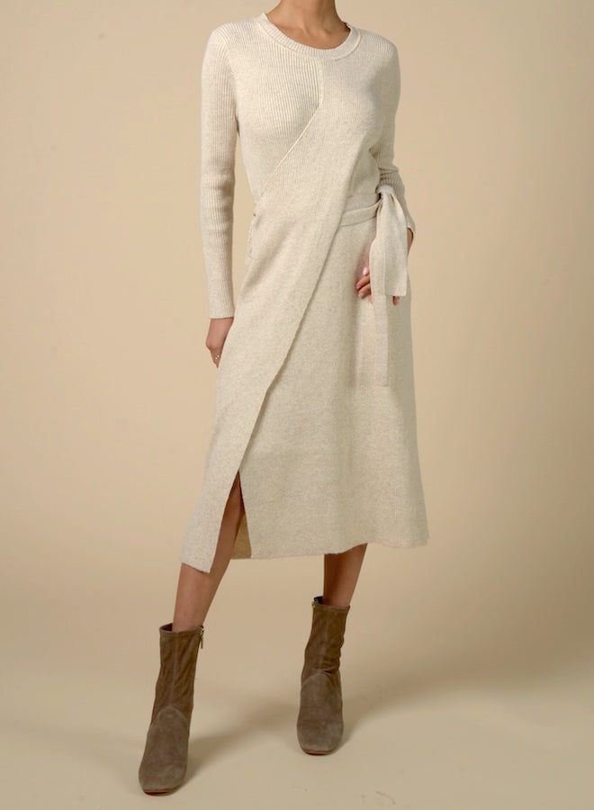 89512 Asymmetrical Waist Tie Knit Dress