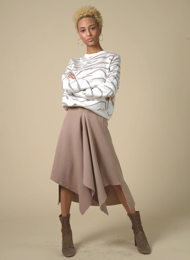 89602 Draped Midi Knit Skirt
