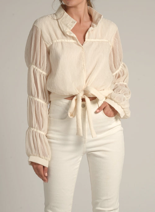 90108 GATHERED SLEEVE CHIFFON BLOUSE