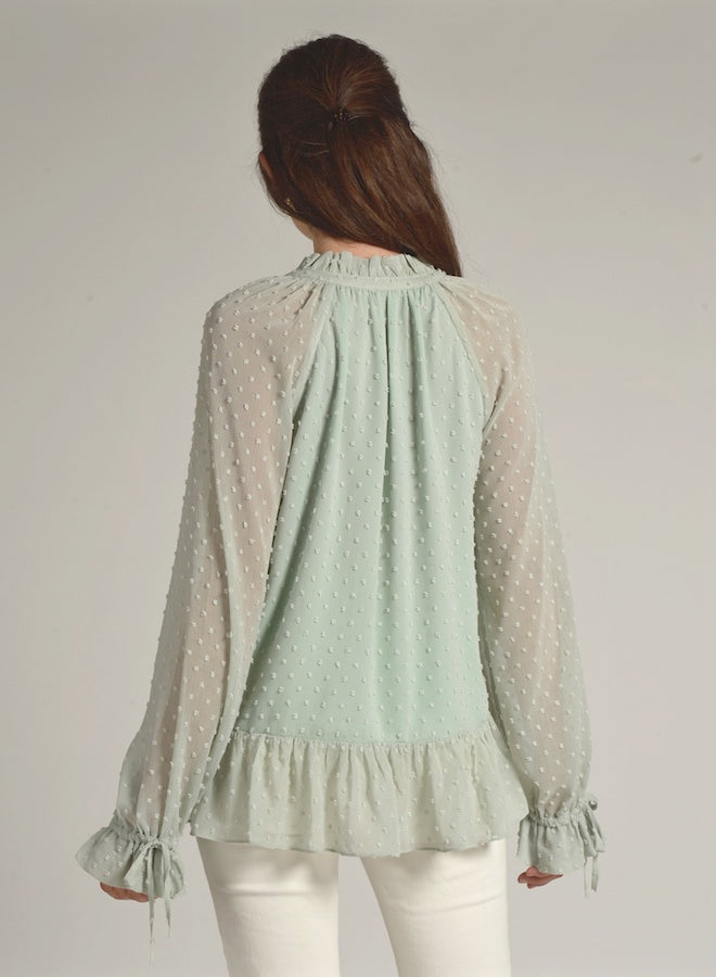 90109 MINT GREEN DOT BLOUSE