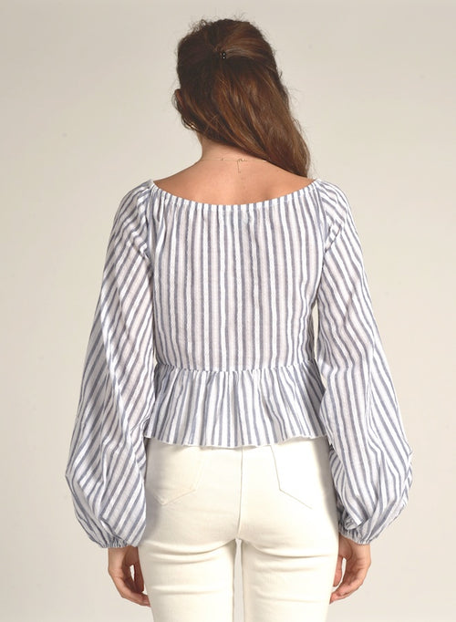 90113 LONG SLEEVE STRIPED WIDE SLEEVE RUFFLE TOP