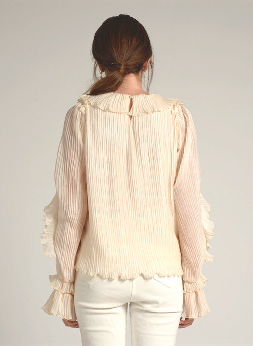 90116 RUFFLE SLEEVE PLEATED TOP