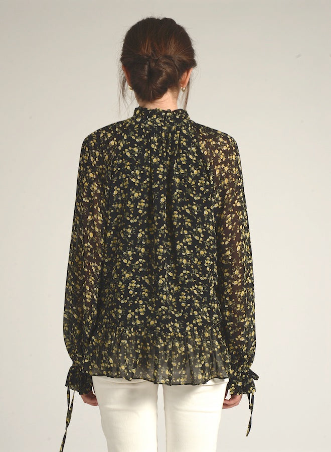 90117 LONG SLEEVE FLORAL PRINT FRONT TIE BLOUSE
