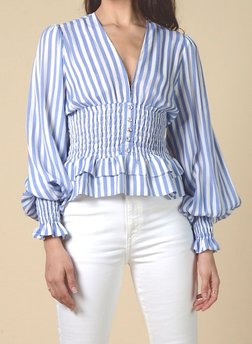90119 STRIPED SMOCKED WAIST TOP