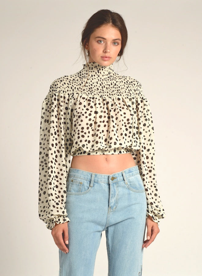 90120 POLKA DOT SMOCKED SHOULDER CROP TOP