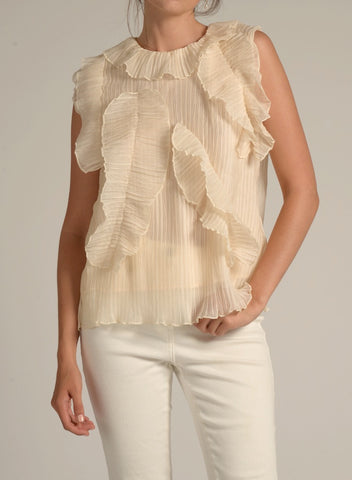 89120 Contrast Scalloped Edge Ruffle Blouse