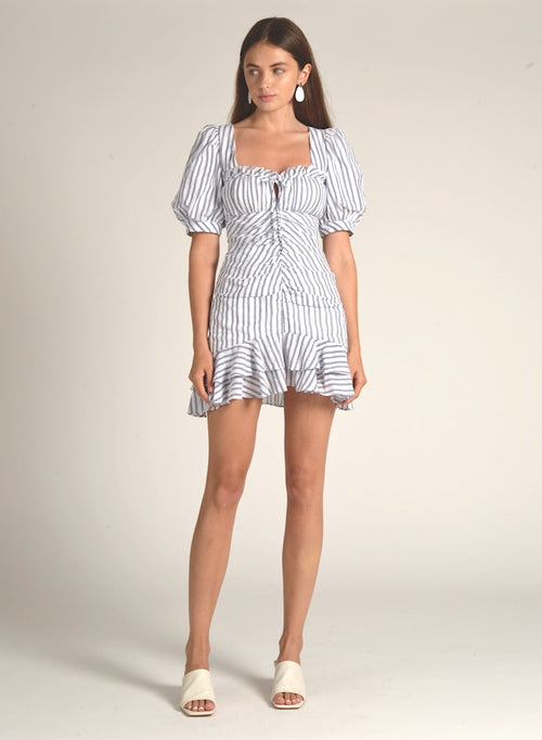 90505 STRIPED WIDE SLEEVE RUFFLE DRESS