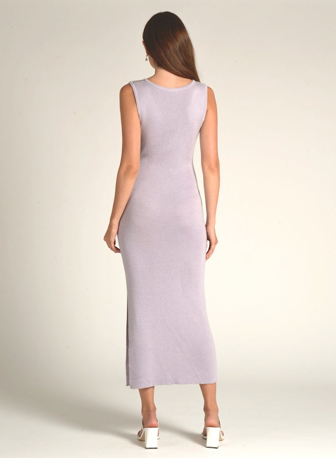 90507 LAVENDER WAIST TIE KNIT DRESS
