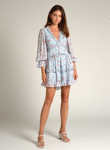 90502 LS ALL OVER SMOCKED FLORAL DRESS