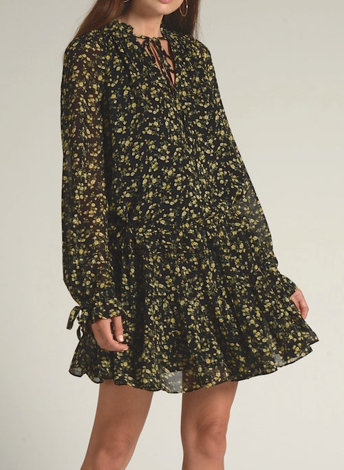 90511 LONG SLEEVE FLORAL PRINT WAIST TIE DRESS