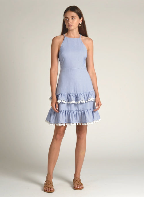90517 BLUE RUFFLE BOTTOM POM POM DRESS