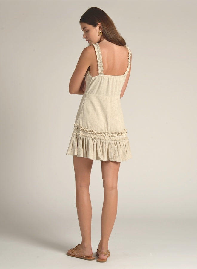 90522 TAN FRONT BOW LINEN DRESS