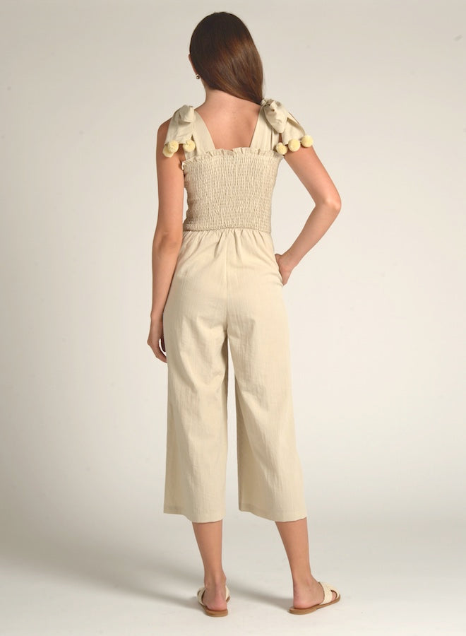90601 CREAM POM POM SHOULDER JUMPSUIT