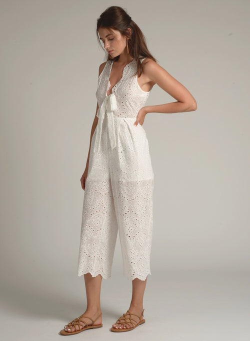 90605 DETAILED VNECK FRONT TIE LACE JUMPSUIT