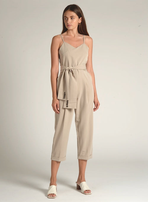 90608 FRONT TIE BUTTON JUMPSUIT