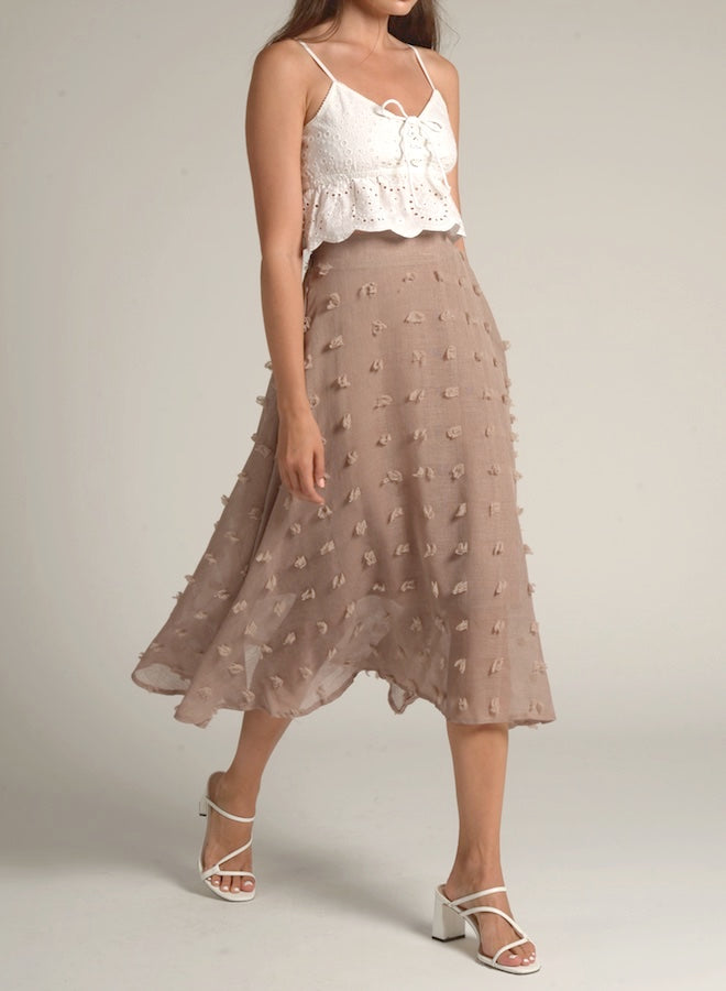 90805 DOTTED COTTON MIDI SKIRT