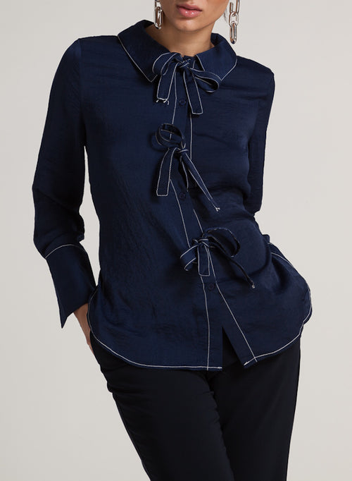 85505 Shea Navy Blue Front Tie Bows Blouse