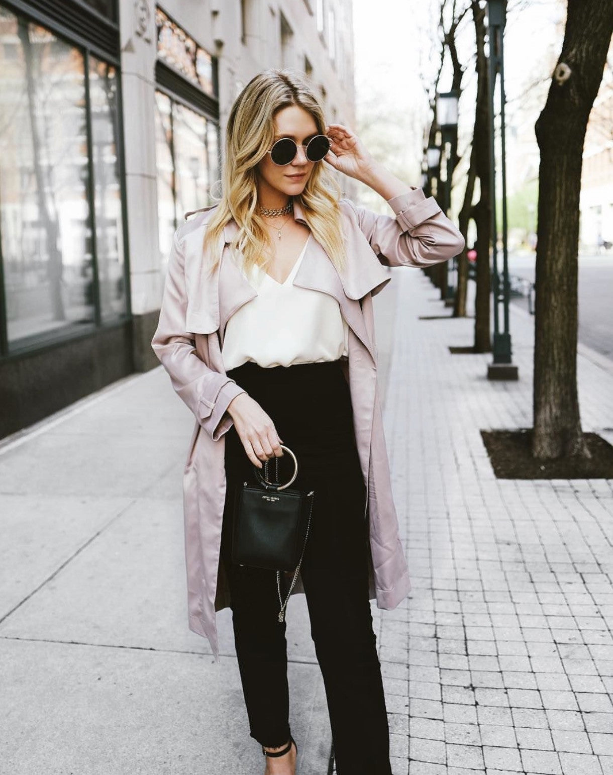 ROSIE BLUSH SILKY SATIN TRENCH COAT