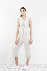 BOYFRIEND SAND TAN STRIPED JUMPSUIT