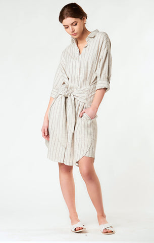 88503 Skye Striped Belted Shirt Dress