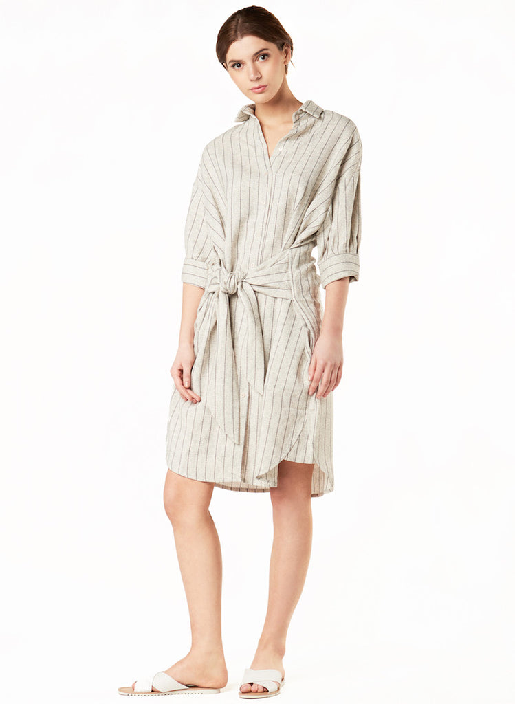 BOYFRIEND STRIPED WRAP SHIRT DRESS