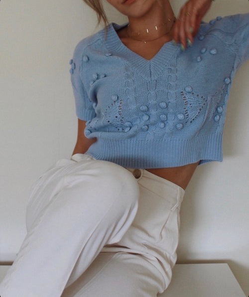 90208 POM POM STITCHED CROP SWEATER