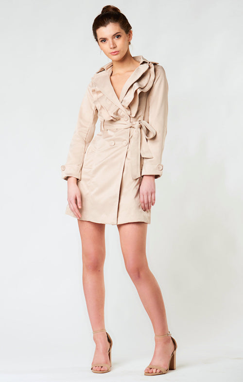 MIXXED SATIN GOLD RUFFLE TRENCH COAT