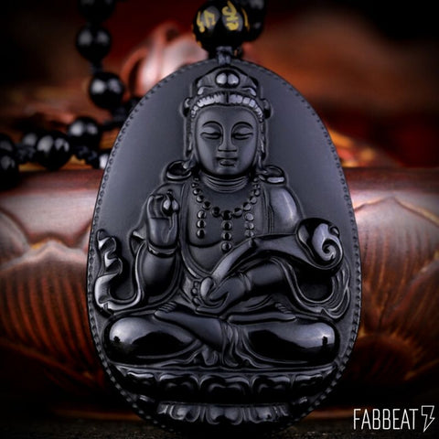 Black Obsidian Carved  Ruyi Guanyin Buddha Amulet + FREE necklace