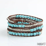 Leather Beads Boho Style Multilayer Natural Stones Bracelet