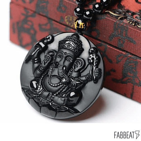 Obsidian Ganesh Elephant Carved Pendant with Free Necklace