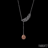 Drusy Drop Feather Necklace