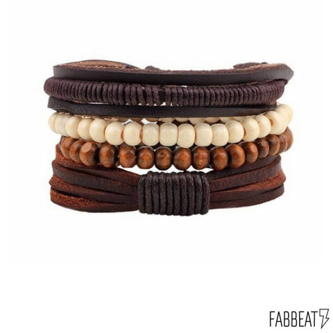 All Natural Bamboo Leather Bracelets Set