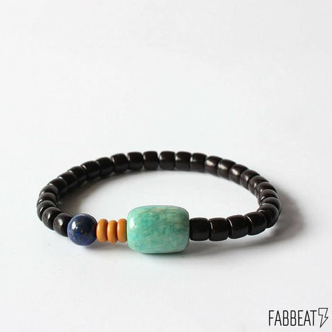 Lapis Lazuli and Amazonite Coconut Shell Buddha Bracelet