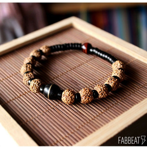 Natural Coconut shell and Rudraksha seeds Tibetan Stretch bracelet