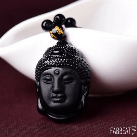 Buddha Face Obsidian Pedant + Free Obsidian Beads Necklace