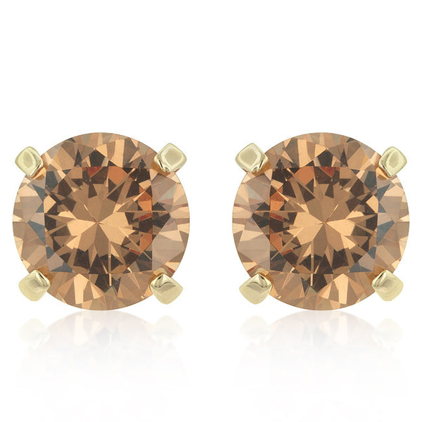 Simple Champagne Cubic Zirconia Studs