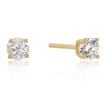 4mm Round Cut CZ 18k Gold Studs