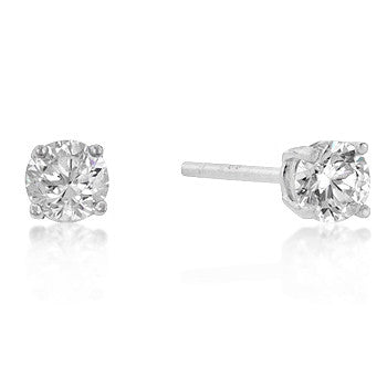 4mm Round Cut CZ Sterling Silver Studs