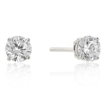 5mm Round Cut CZ Sterling Silver Studs