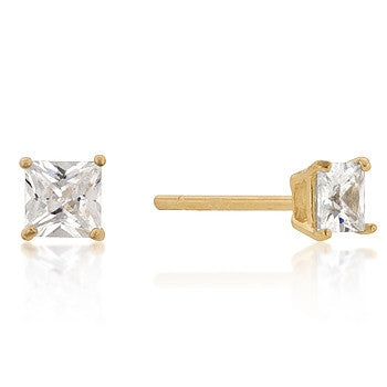 4mm Princess Cut CZ 18k Gold Studs