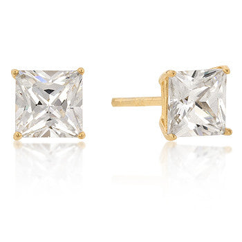 6mm Princess Cut CZ 18k Gold Studs