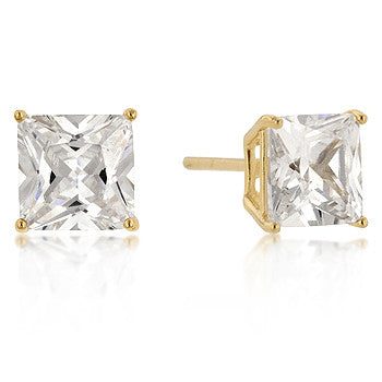 7mm Princess Cut CZ 18k Gold Studs