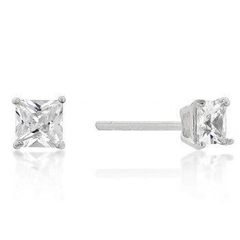 4mm Princess Cut CZ Sterling Silver Studs