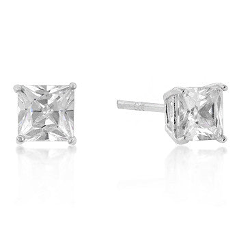 5mm Princess Cut CZ Sterling Silver Studs
