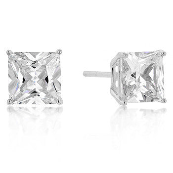 7mm Princess Cut CZ Sterling Silver Studs