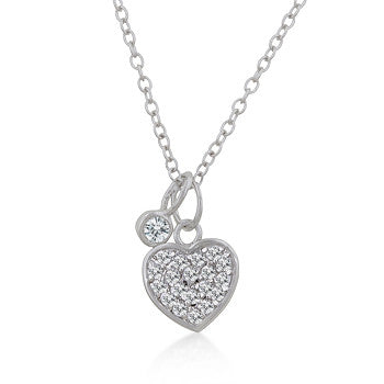 Silver Heart Charm Pave Necklace