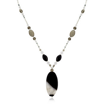 Simulated Smokey Crystal and Quartz Medallion Necklace