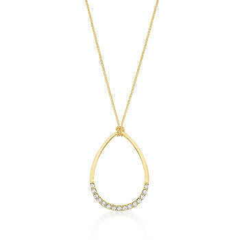 Golden Crystal Teardrop Necklace